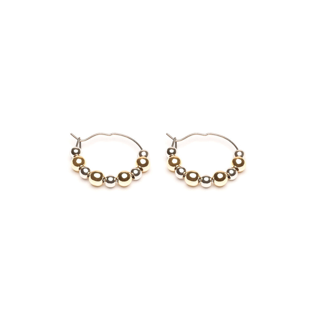Gold Plated And Stainless Steel Beads Continuous Hoop Earrings - Simply Whispers