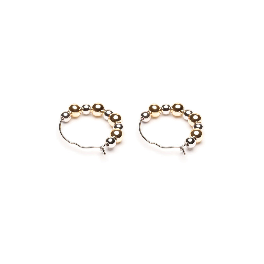 Stainless Steel Continuous Hoop Earrings With Gold and Silver Plated Beads - Simply Whispers