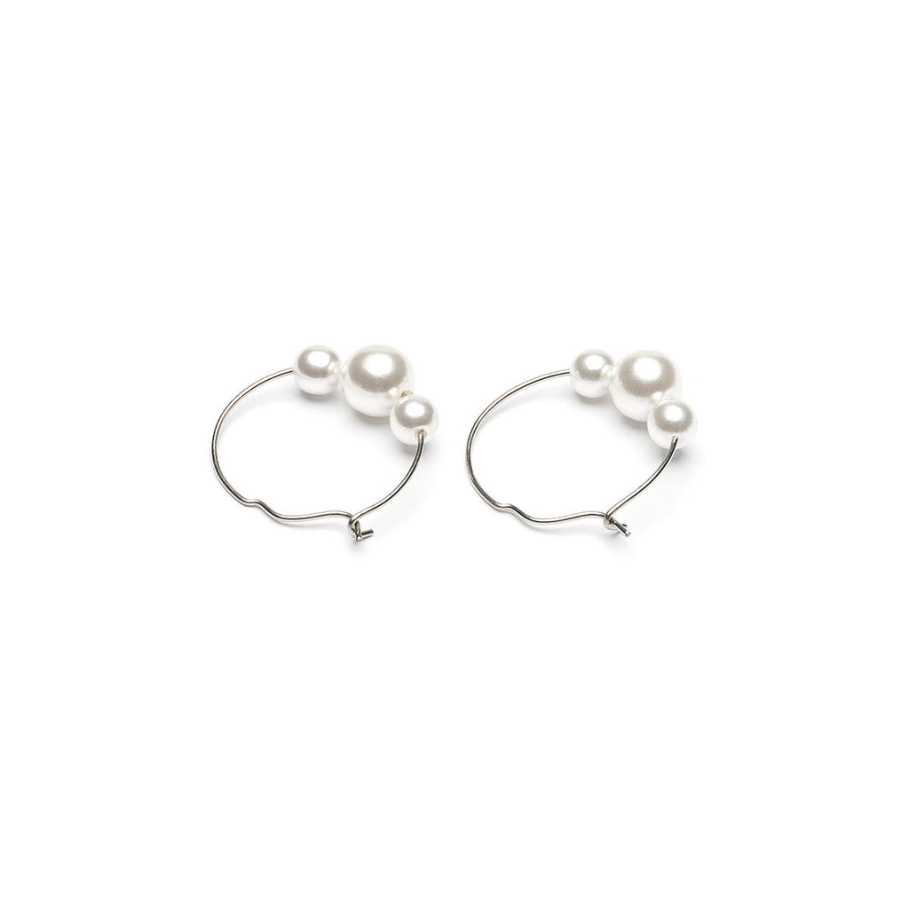 Silver Plated 4 And 6 mm Pearls Continuous Hoop Earrings - Simply Whispers