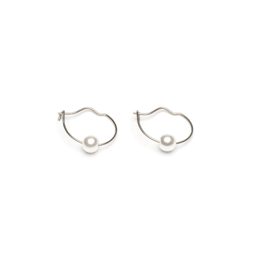 Silver Plated 4 mm Pearls Continuous Hoop Earrings - Simply Whispers