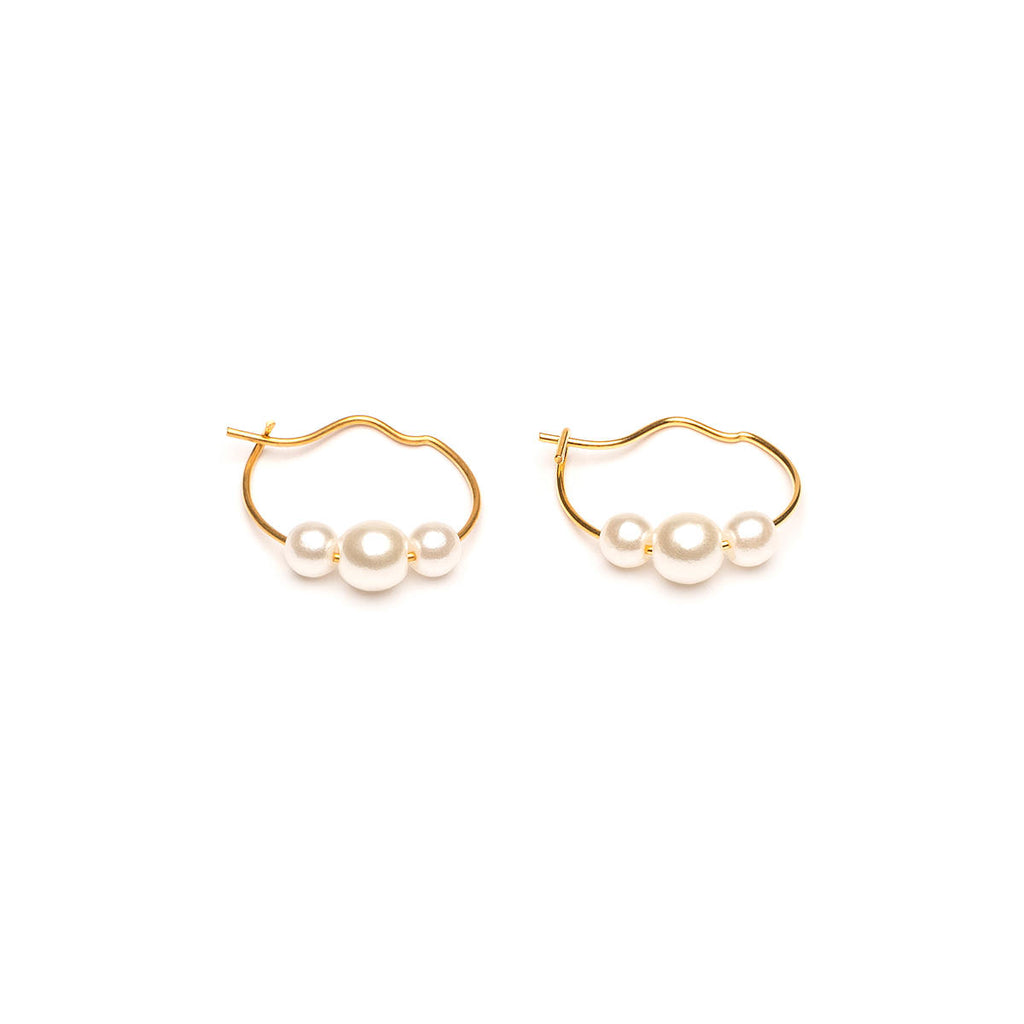 Gold Plated 4 And 6 mm Pearls Continuous Hoop Earrings - Simply Whispers
