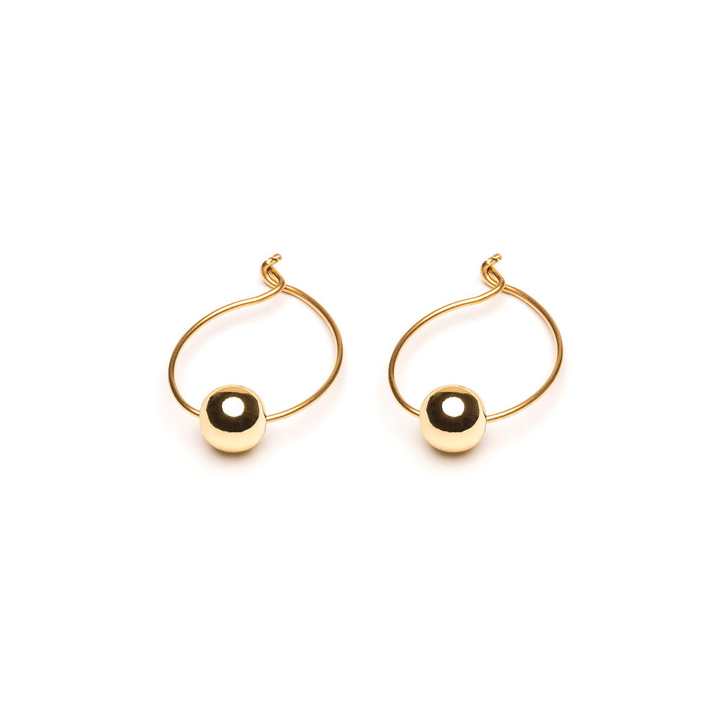 Gold Plated 6 mm Bead Medium Hoop Earrings - Simply Whispers