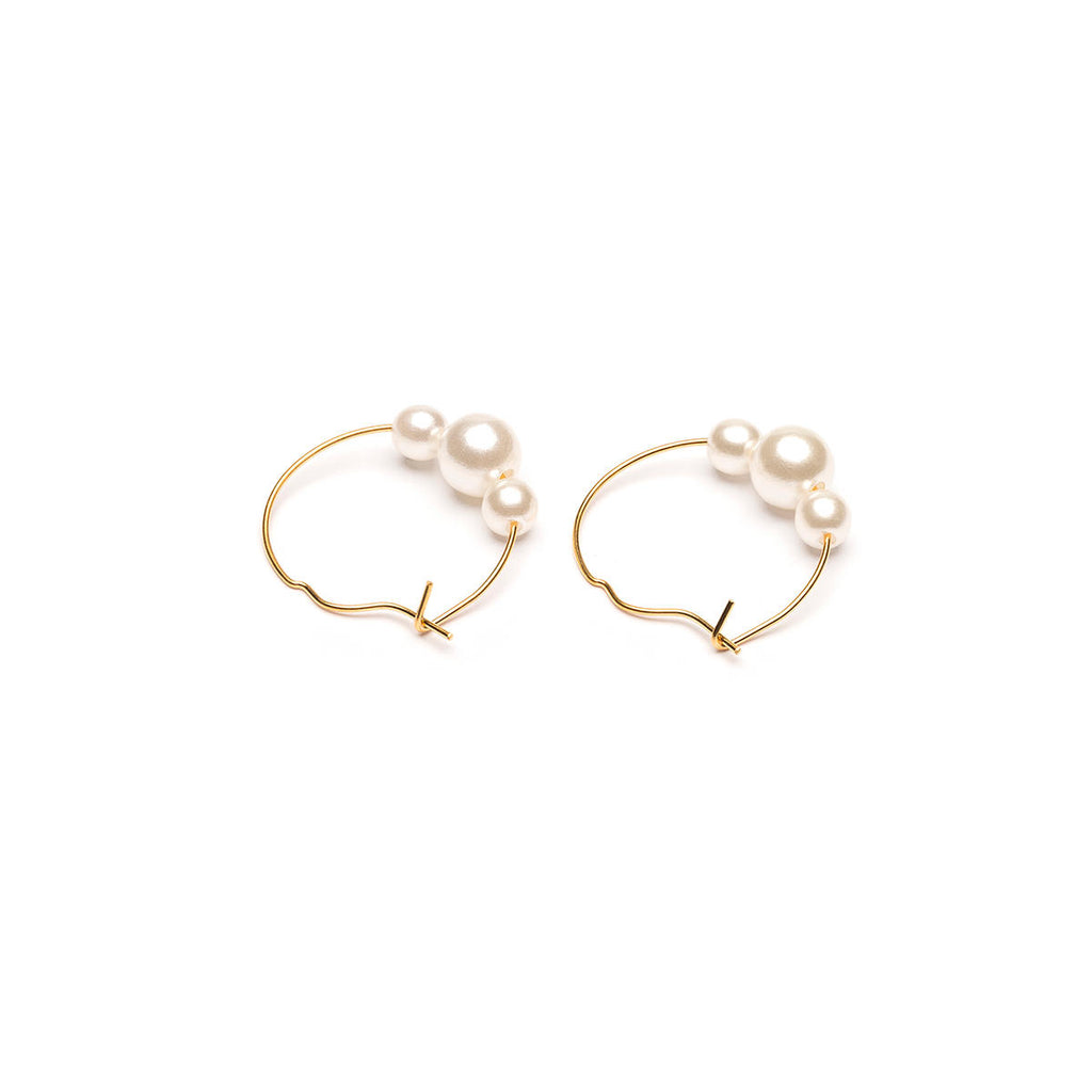 Gold Plated Pearls Large Hoop Earrings - Simply Whispers