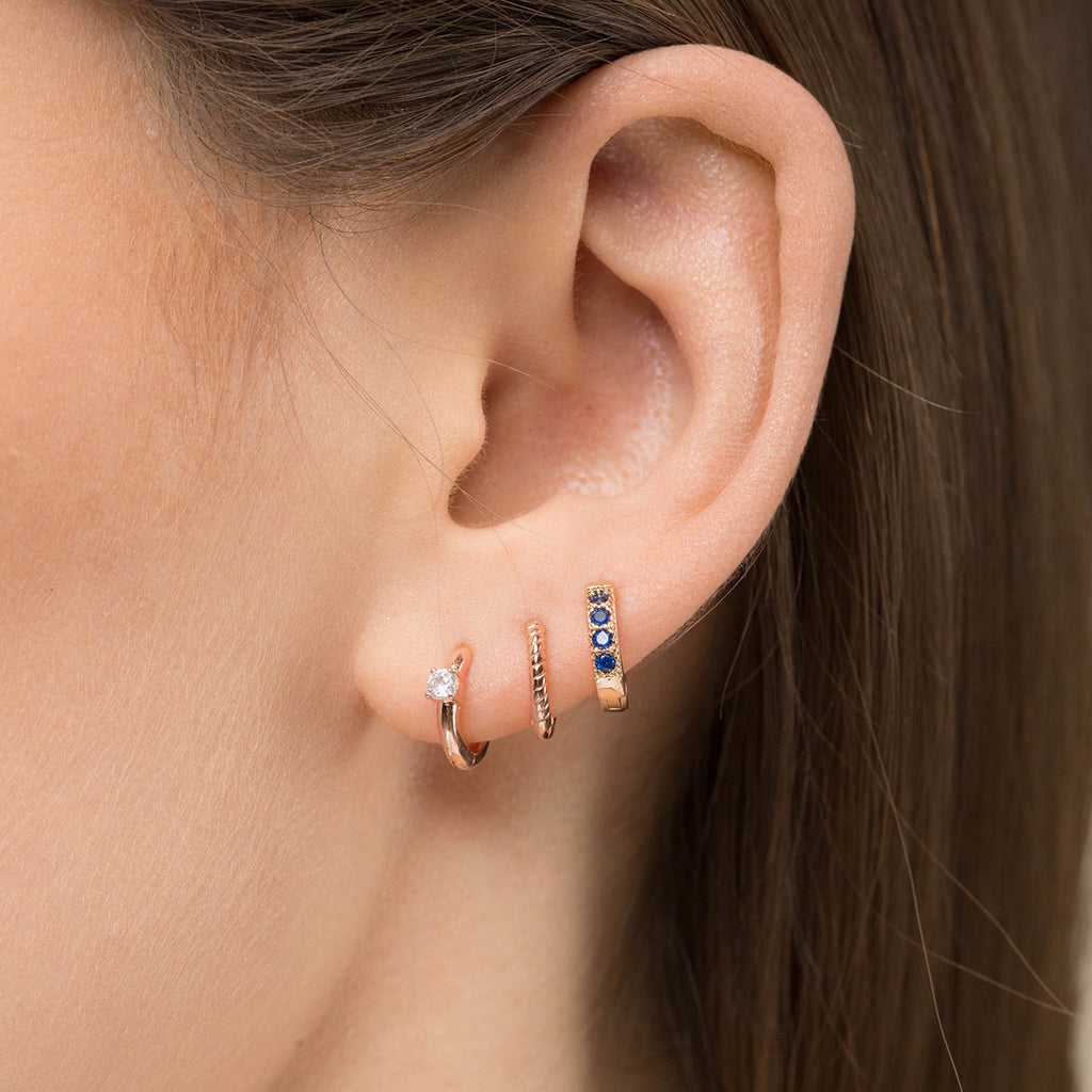 Small White Crystal Huggie Earrings - Simply Whispers