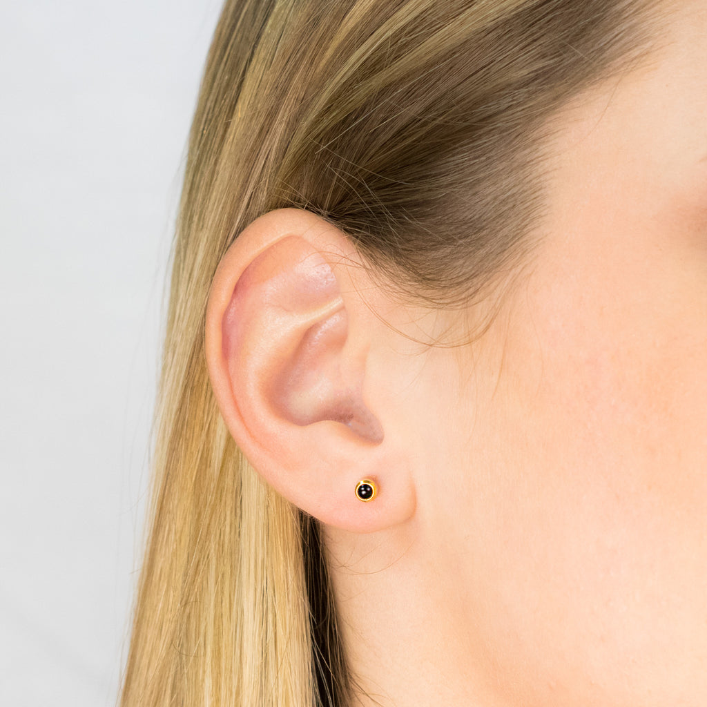 Gold Plated 3 mm Onyx Stud Earrings - Simply Whispers
