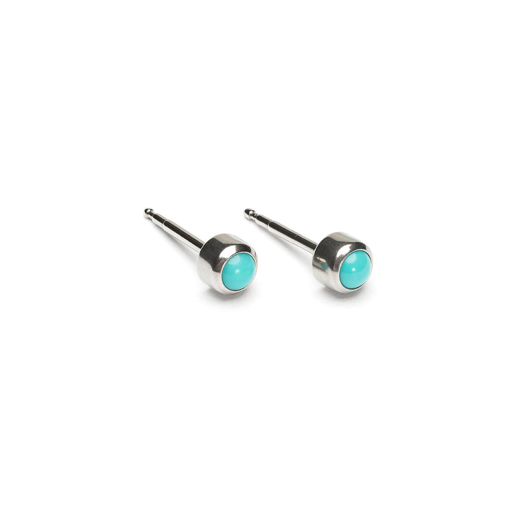 Stainless Steel 3 mm Turquoise Stud Earrings - Simply Whispers