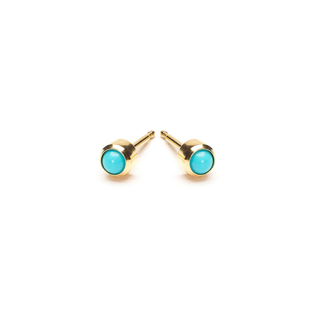 Gold Plated 3 mm Turquoise Stud Earrings - Simply Whispers