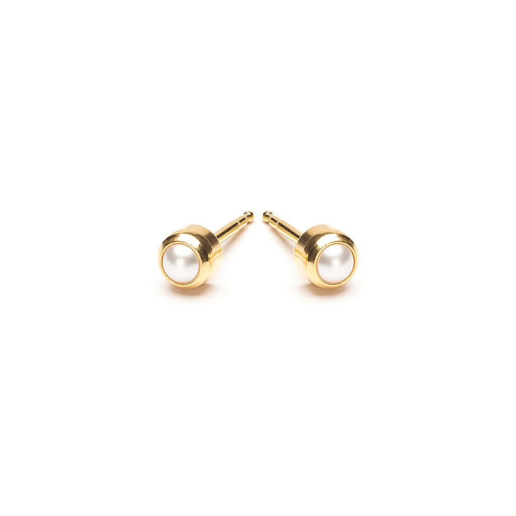 Gold Plated 3 mm Pearl Treasure Stud Earrings - Simply Whispers
