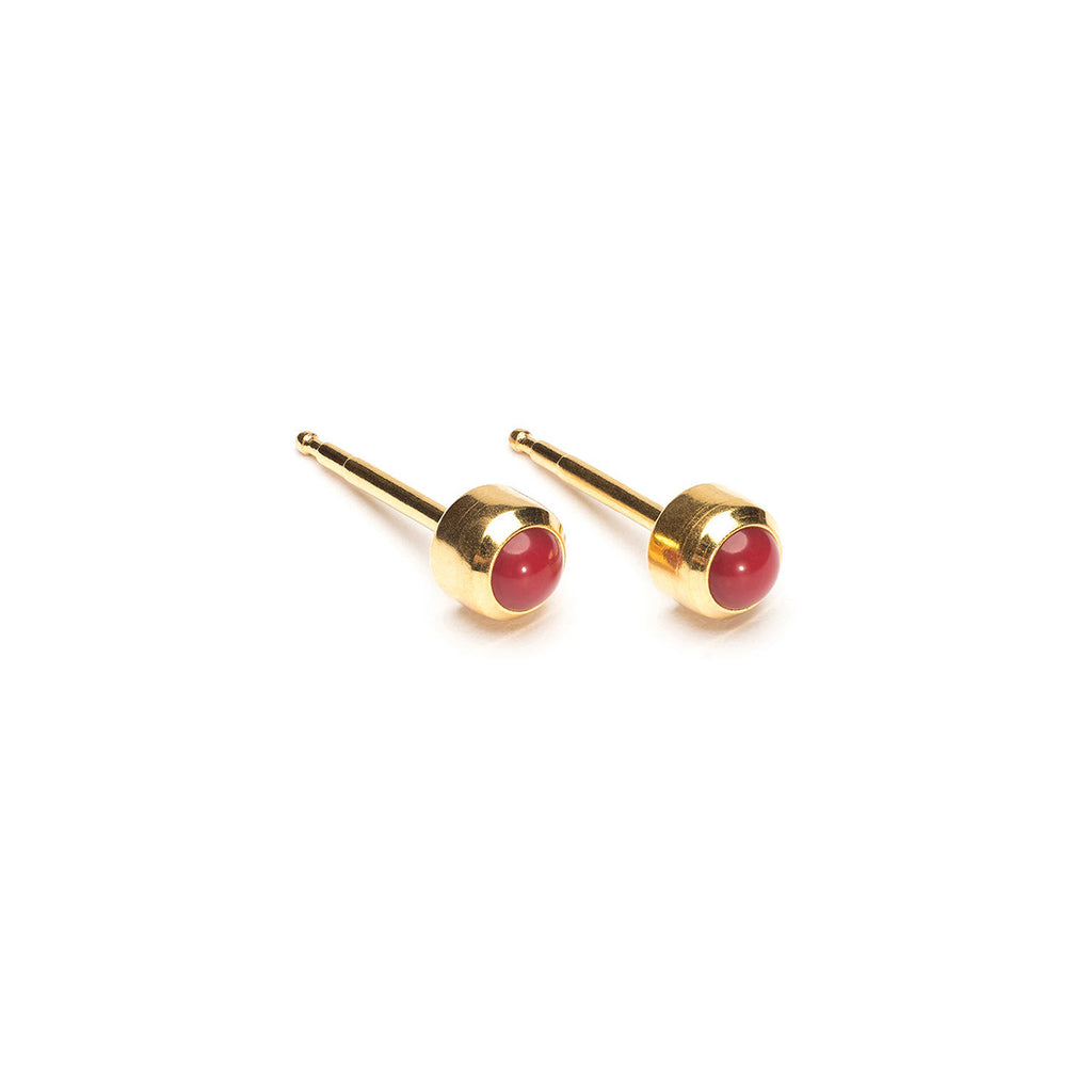 Gold Plated 3 mm Red Coral Stud Earrings - Simply Whispers