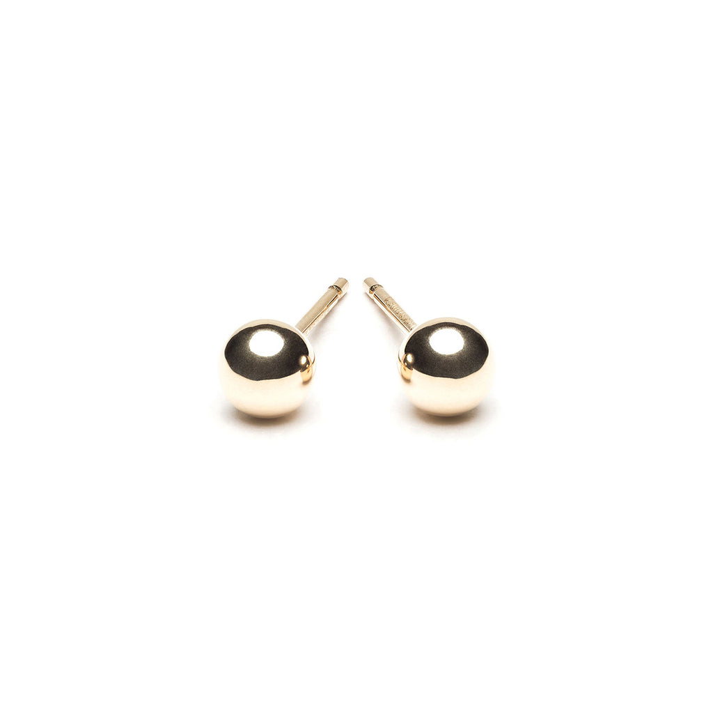 Gold Plated 4 mm Ball Stud Earrings - Simply Whispers
