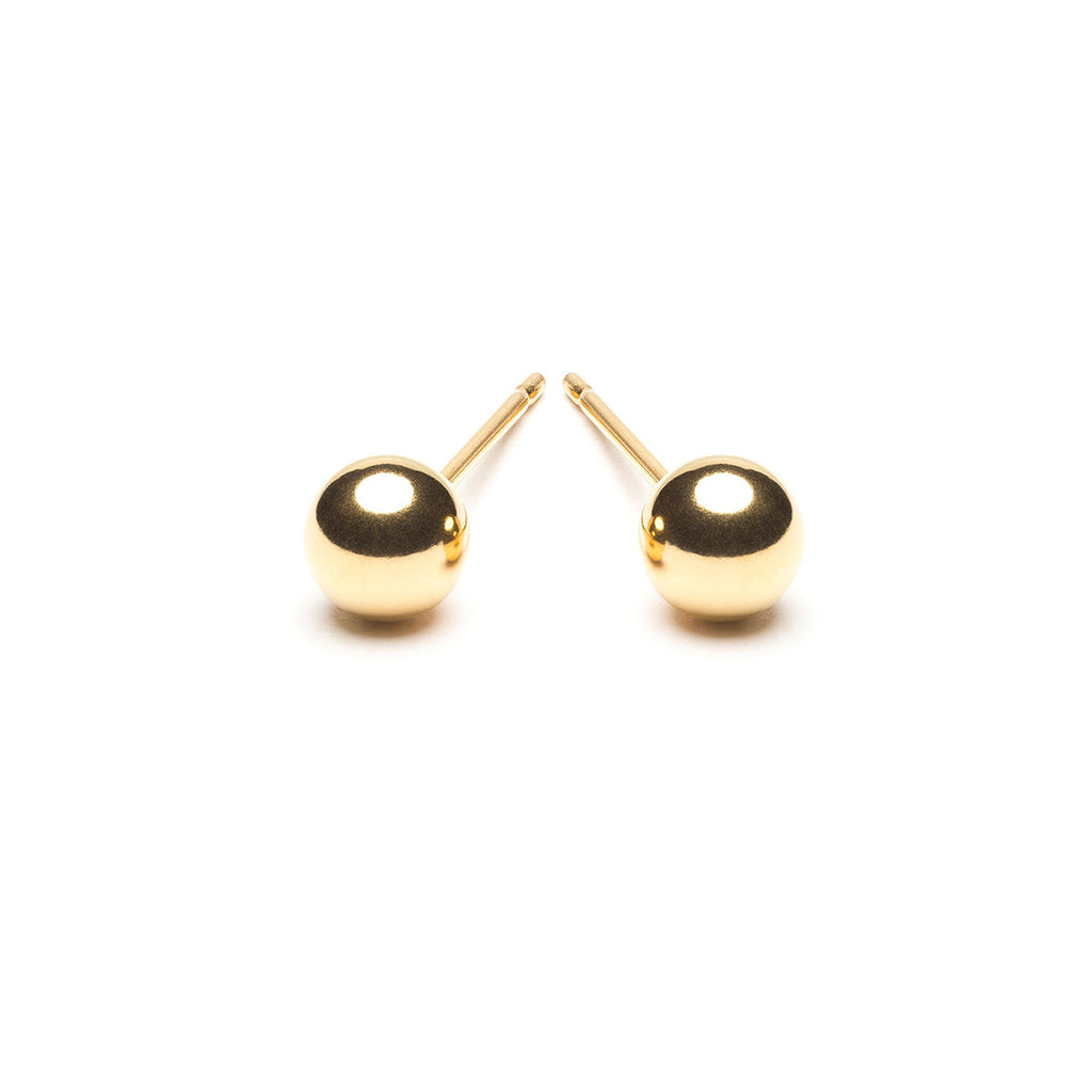 Gold Plated 5 mm Ball Stud Earrings - Simply Whispers