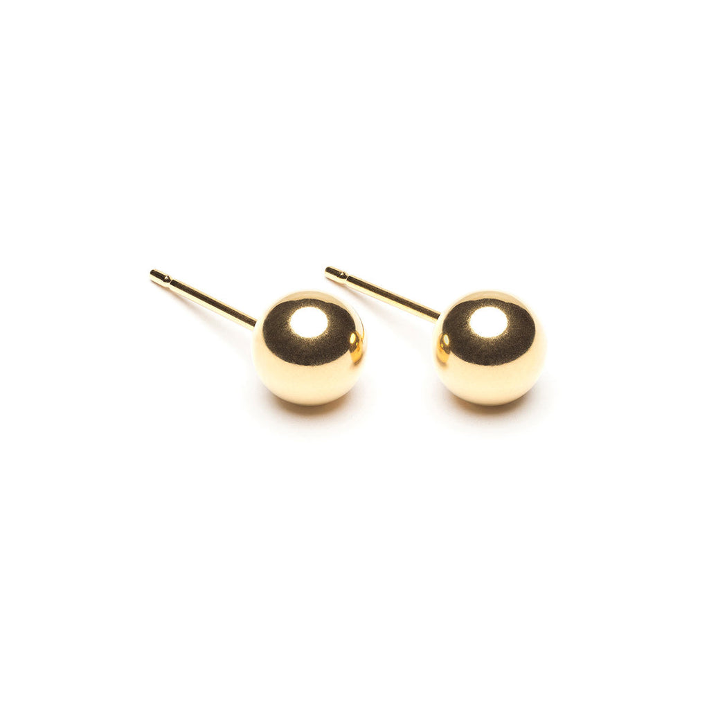 Gold Plated 6 mm Ball Stud Earrings - Simply Whispers