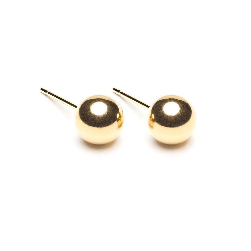 Gold Plated 7 mm Ball Stud Earrings - Simply Whispers
