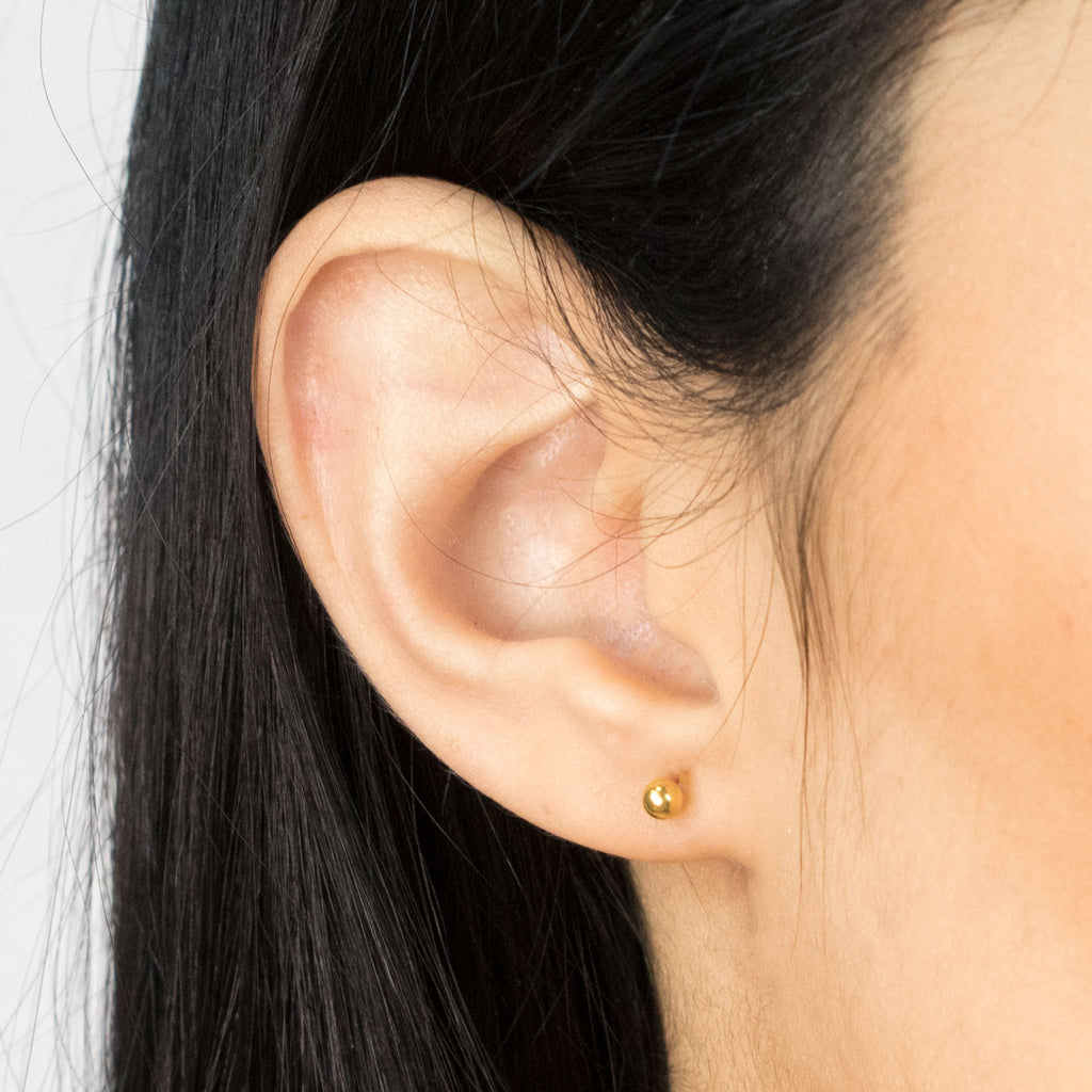 Gold Plated 3 mm Ball Stud Earrings - Simply Whispers