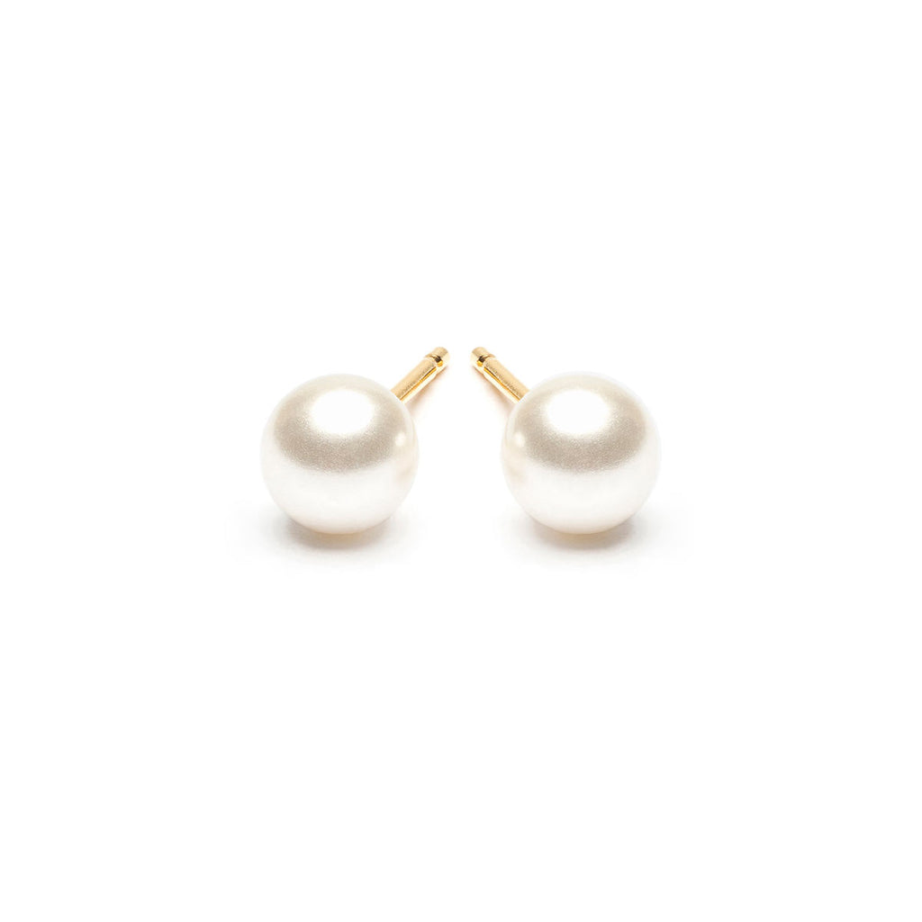 Gold Plated 5 mm White Pearl Stud Earrings - Simply Whispers