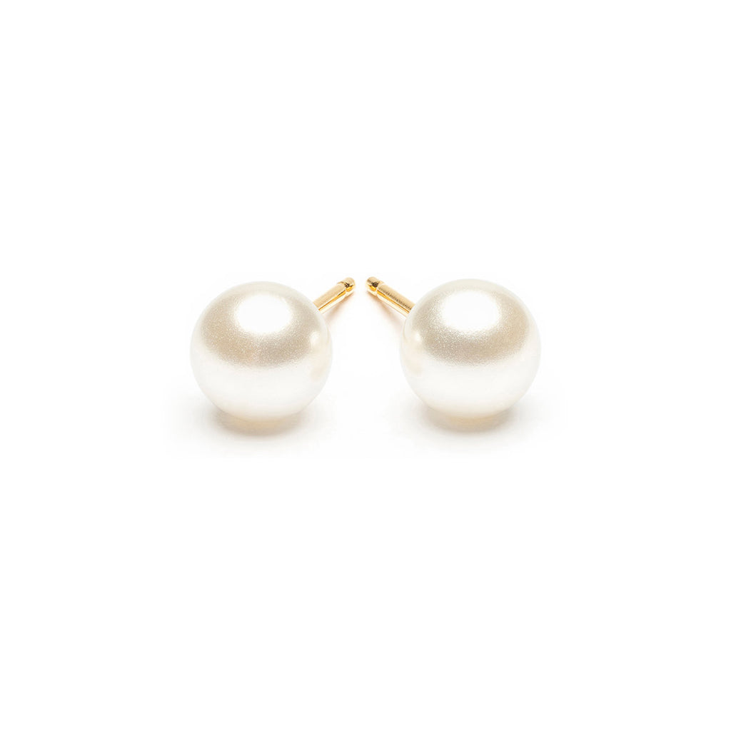 Gold Plated 6 mm White Pearl Stud Earrings - Simply Whispers