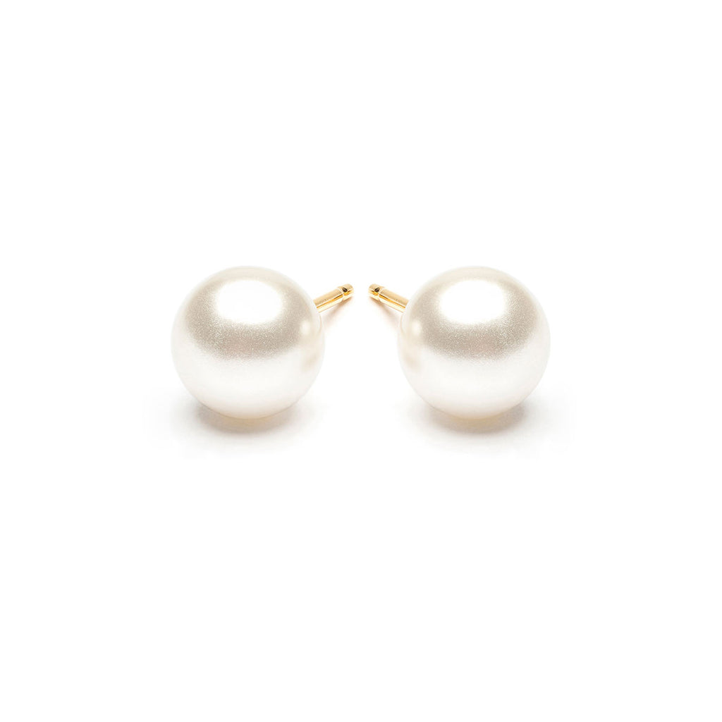 Gold Plated 7 mm White Pearl Stud Earrings - Simply Whispers