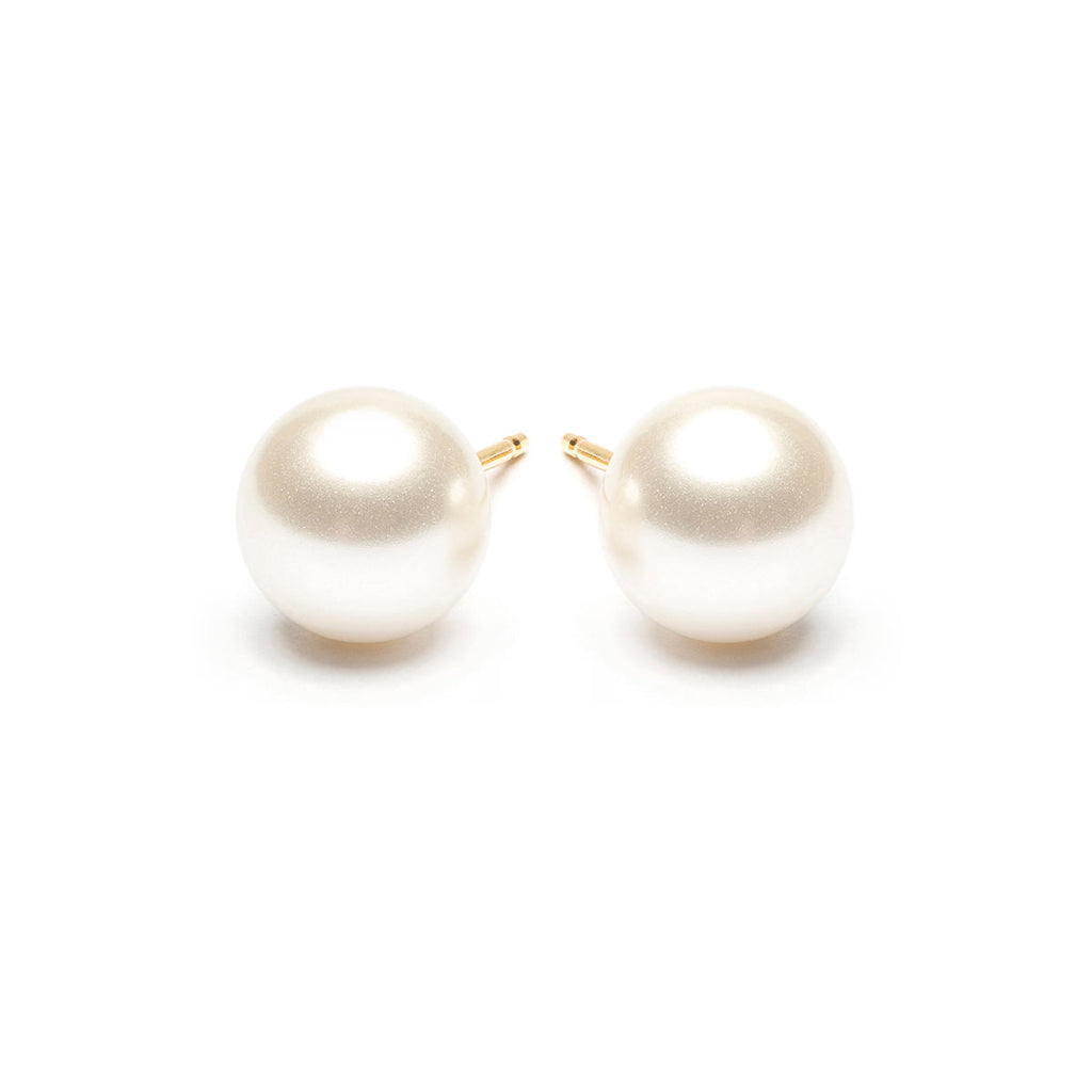 Gold Plated 8 mm White Pearl Stud Earrings - Simply Whispers