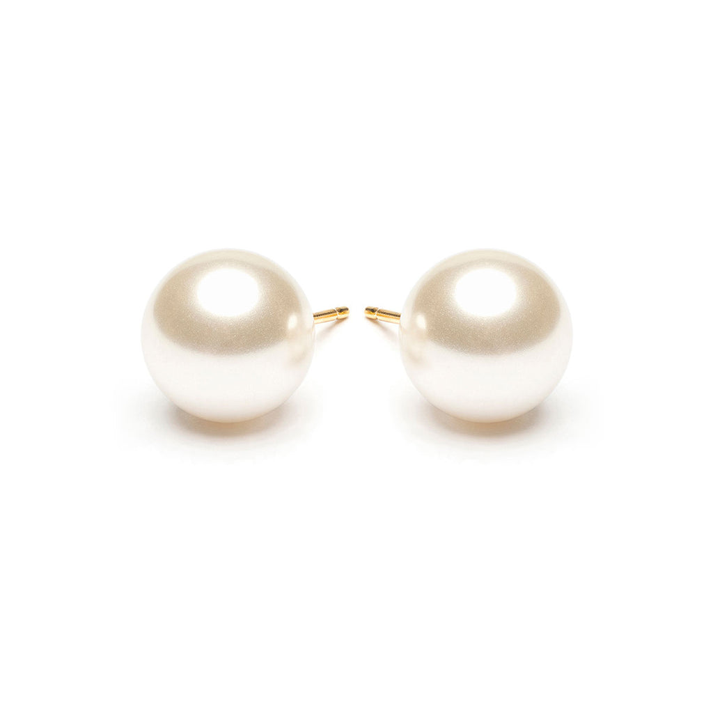 Gold Plated 10 mm White Pearl Stud Earrings - Simply Whispers