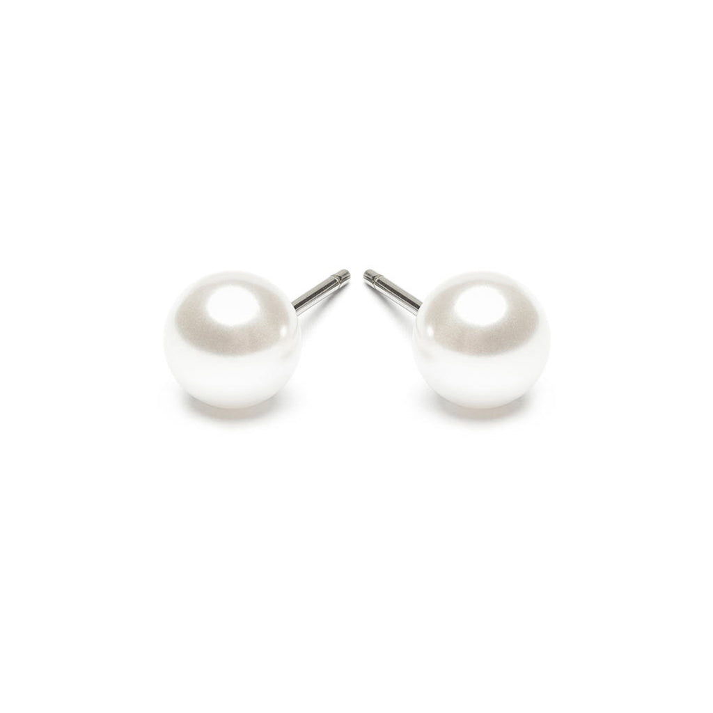 Stainless Steel 6 mm White Pearl Stud Earrings - Simply Whispers