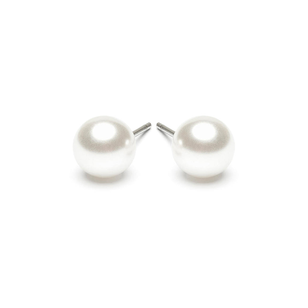 Stainless Steel 7 mm White Pearl Stud Earrings - Simply Whispers