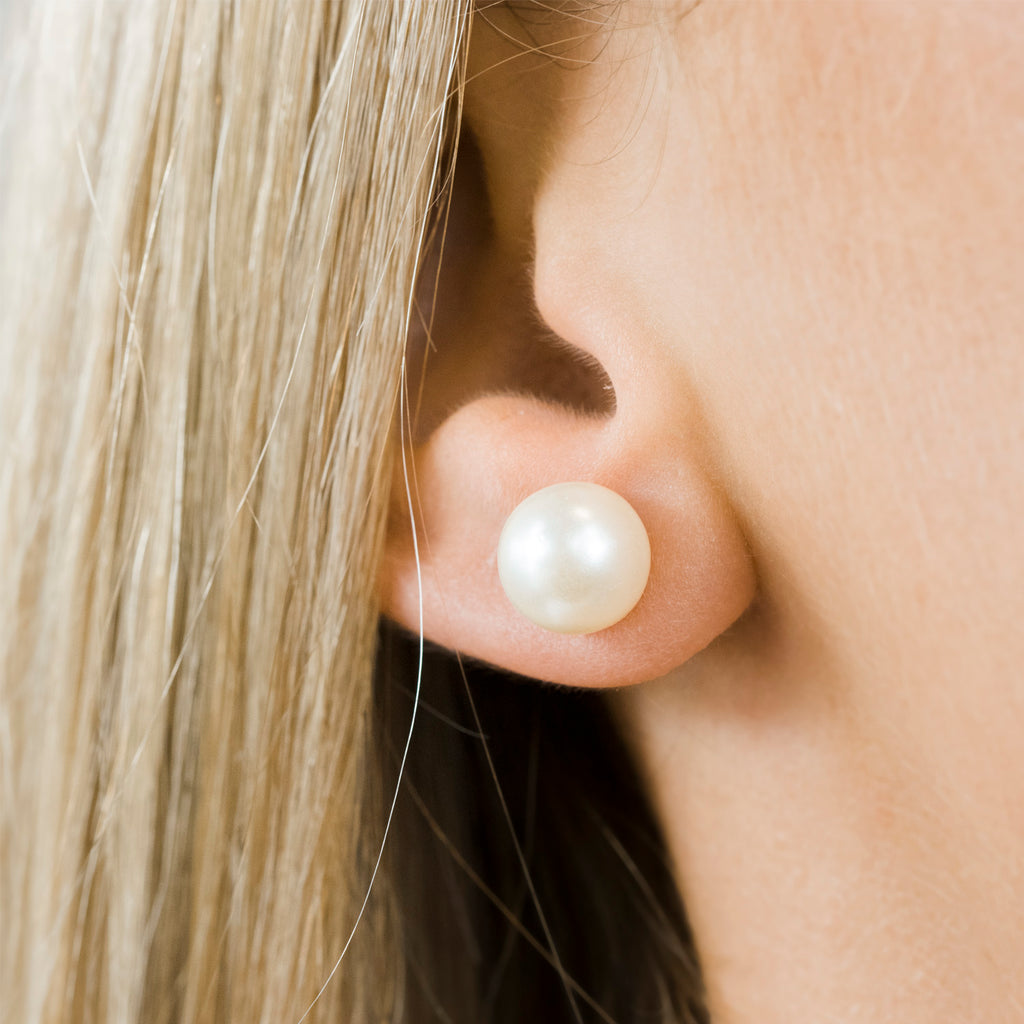 Stainless Steel 10 mm White Pearl Stud Earrings - Simply Whispers