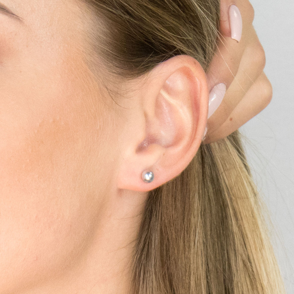 Gold Plated 5 mm Gray Pearl Stud Earrings - Simply Whispers