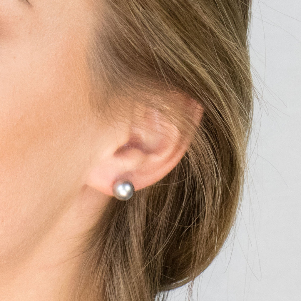 Gold Plated 8 mm Gray Pearl Stud Earrings - Simply Whispers