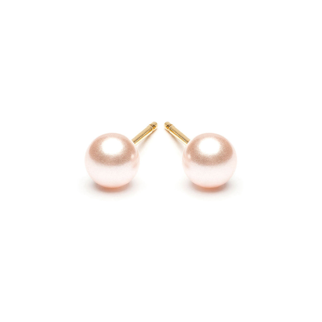 Gold Plated 5 mm Pink Pearl Stud Earrings - Simply Whispers