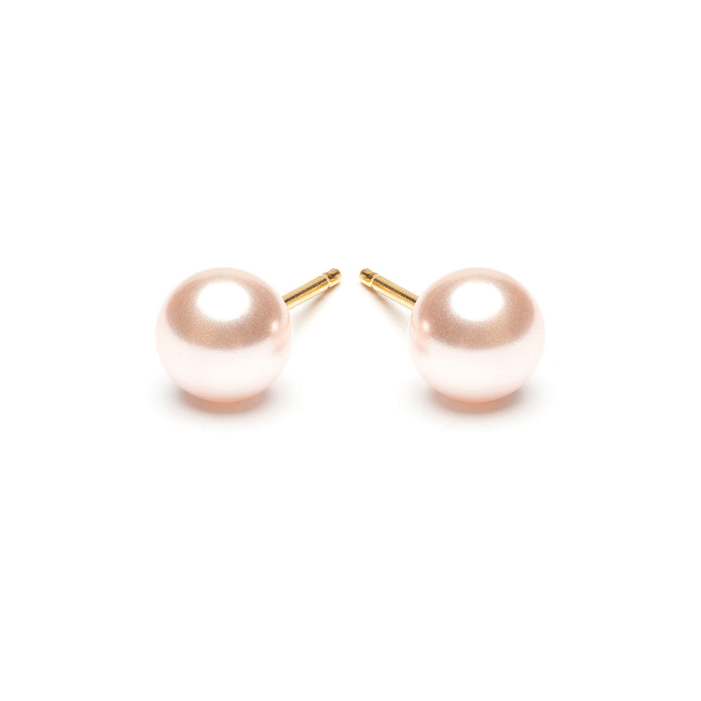 Gold Plated 6 mm Pink Pearl Stud Earrings - Simply Whispers