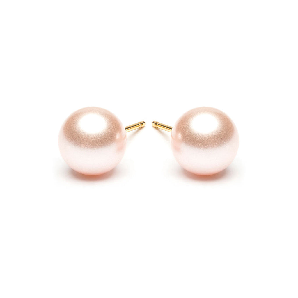 Gold Plated 8 mm Pink Pearl Stud Earrings - Simply Whispers