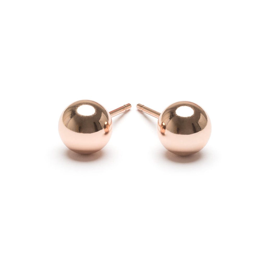 Rose gold plated 6 mm ball stud earrings - Simply Whispers