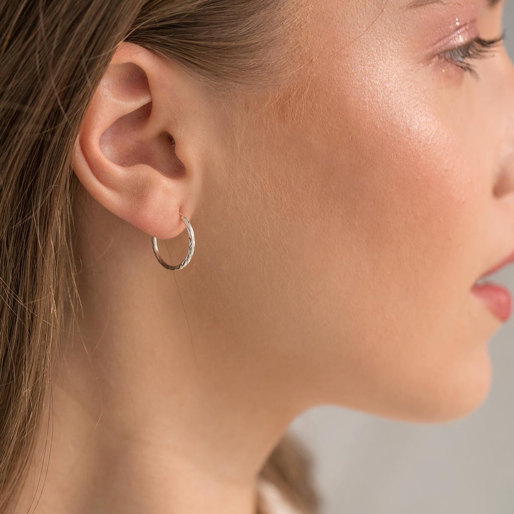 Sterling Silver Diamond Cut Hoops - Simply Whispers
