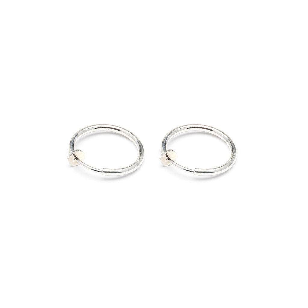 Silver Plated 17 mm Spring Illusion Clip On Hoop  Earrings - Simply Whispers