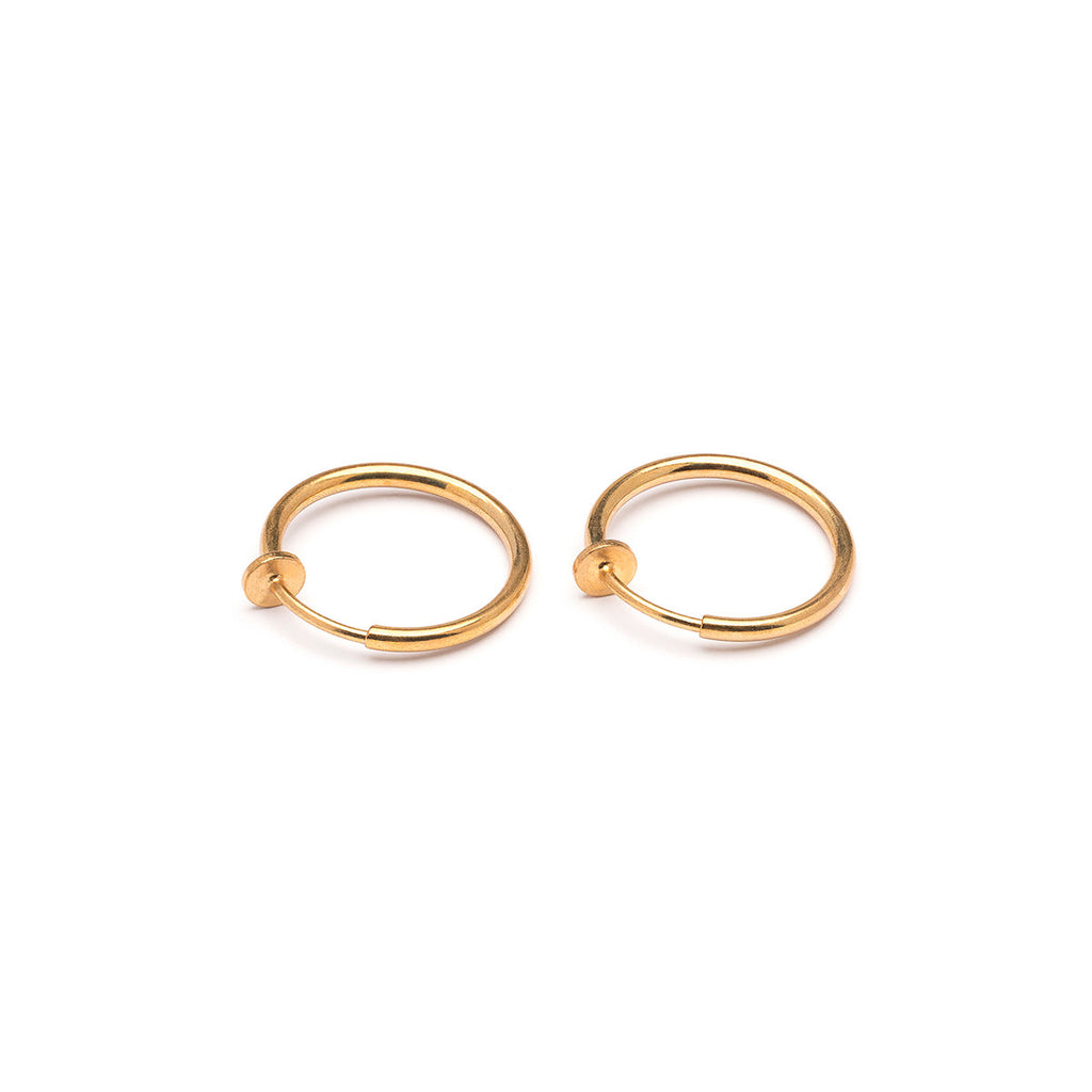 Gold Plated 17 mm Spring Illusion Clip On Hoop Earrings - Simply Whispers