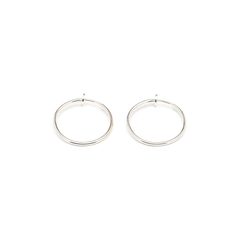 Silver Plated 25 mm Spring Illusion Clip On Hoop  Earrings - Simply Whispers