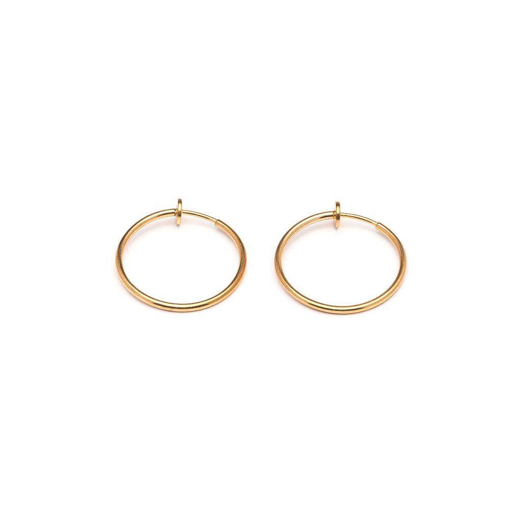 Gold Plated 25 mm Spring Illusion Clip On Hoop Earrings - Simply Whispers