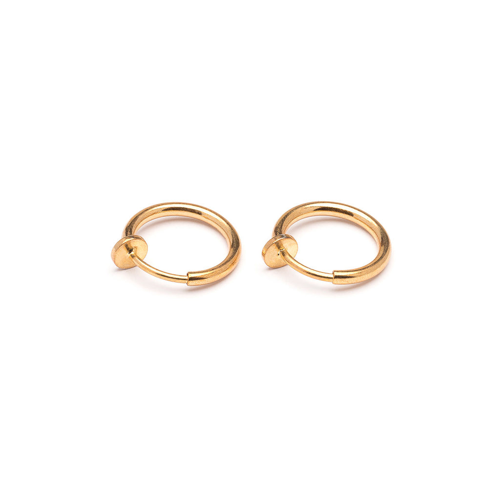 Gold Plated 13 mm Spring Illusion Clip On Hoop Earrings - Simply Whispers