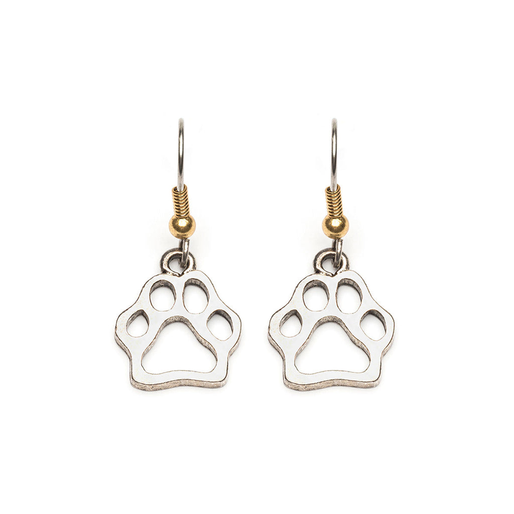 Silver Plated Cut Out Paw Print French Hook Earrings - Simply Whispers