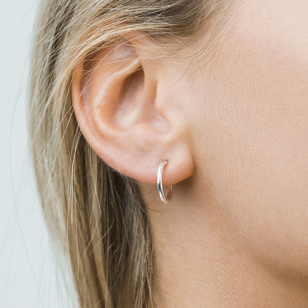 Silver Plated 13 mm Spring Clip On Hoop  Earrings - Simply Whispers