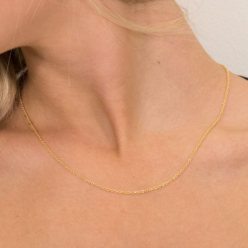 Gold Plated 18 inch Pendant Chain Necklace - Simply Whispers