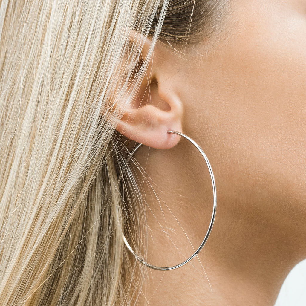 Silver Plated Large Continuous  Hoop Earrings - Simply Whispers