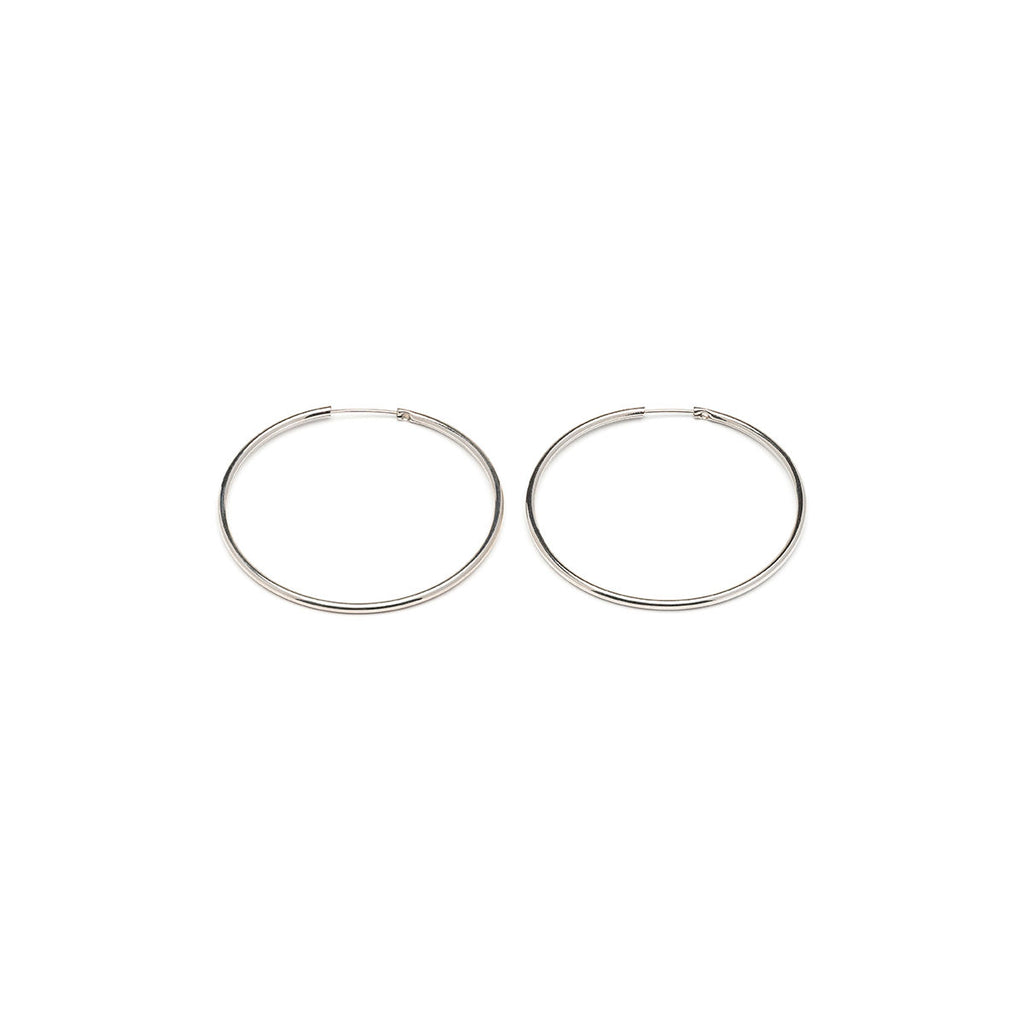 Silver Plated Medium Continuous  Hoop Earrings - Simply Whispers