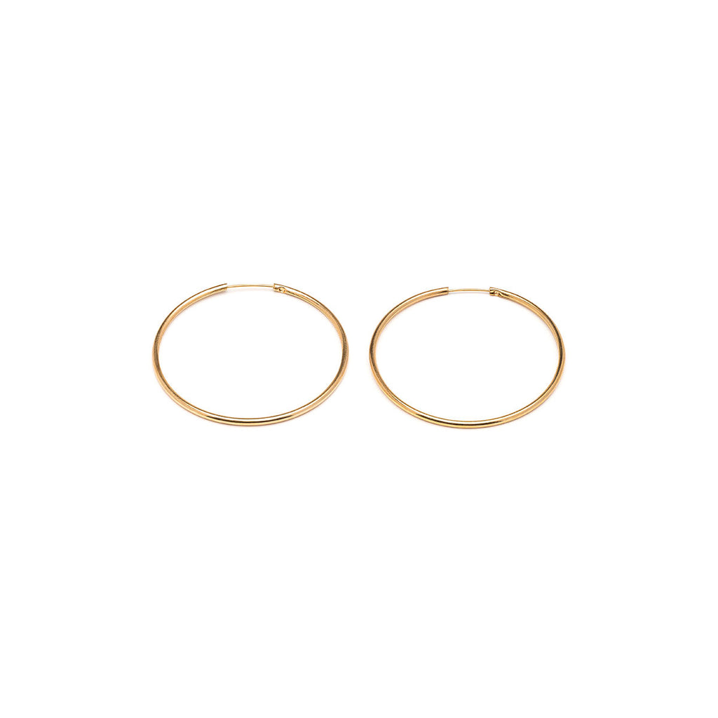 Gold Plated Medium Continuous  Hoop Earrings - Simply Whispers