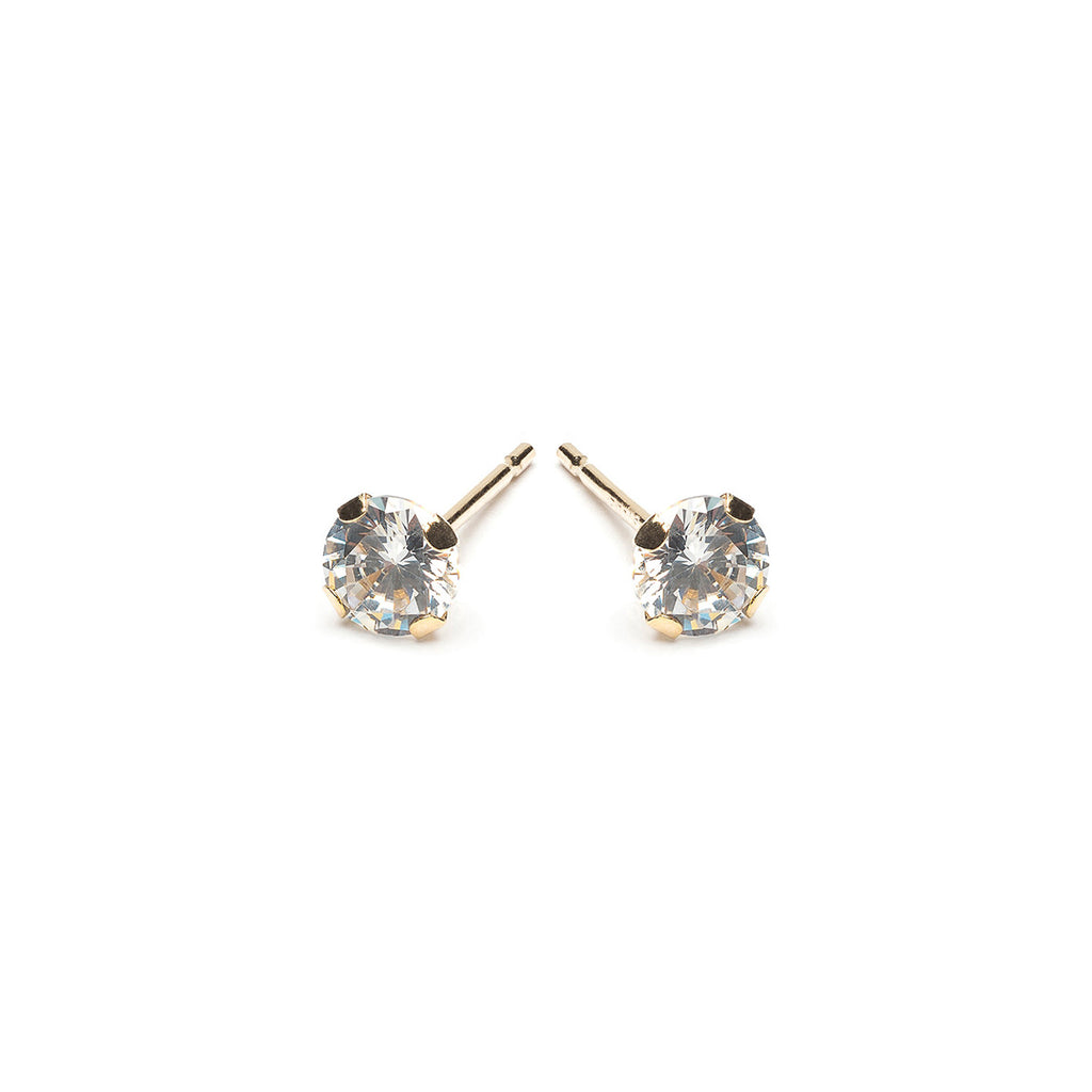 Gold Stud Earrings 4 mm Round Cubic Zirconia - Simply Whispers