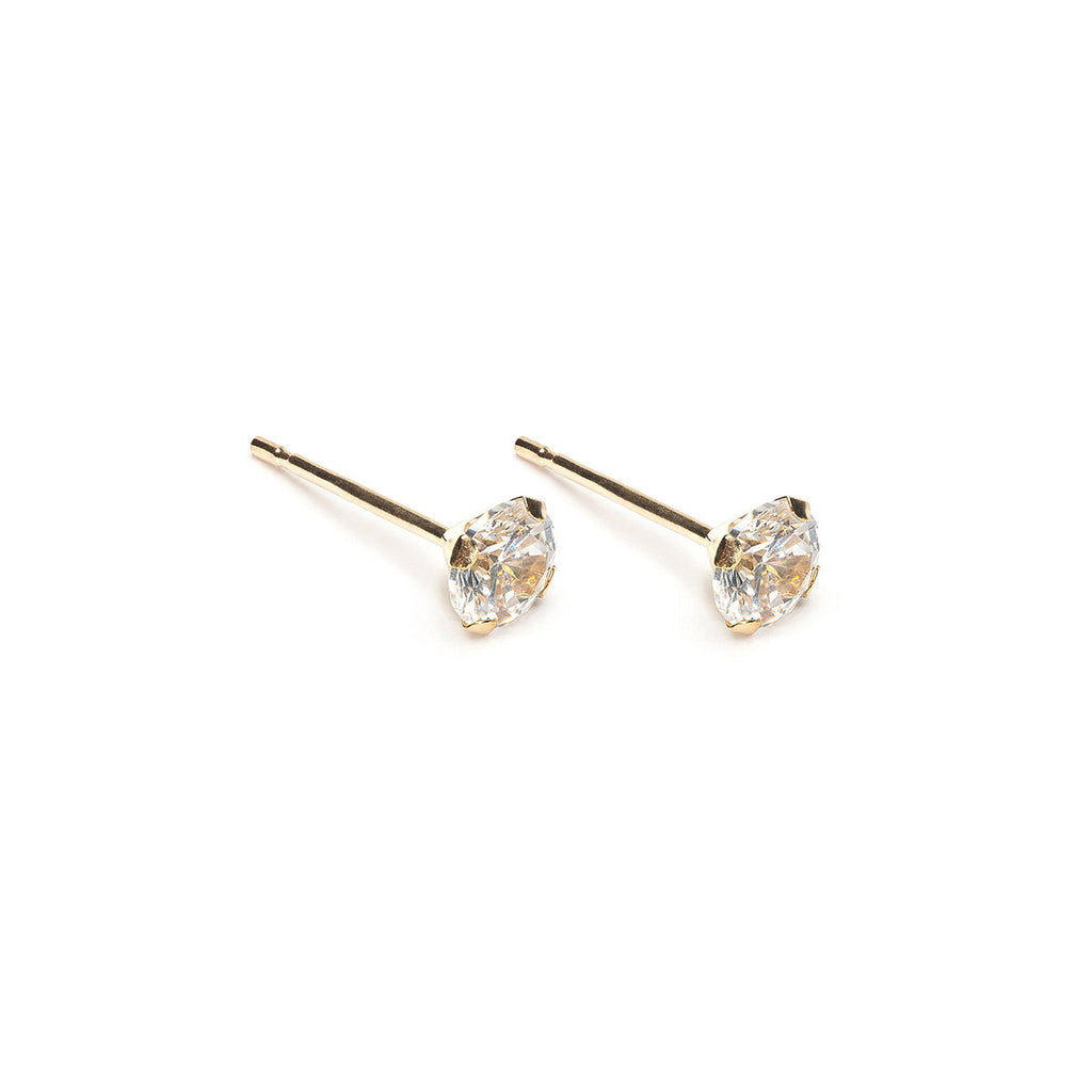 14k Gold 4 mm Round Cubic Zirconia Stud Earrings - Simply Whispers