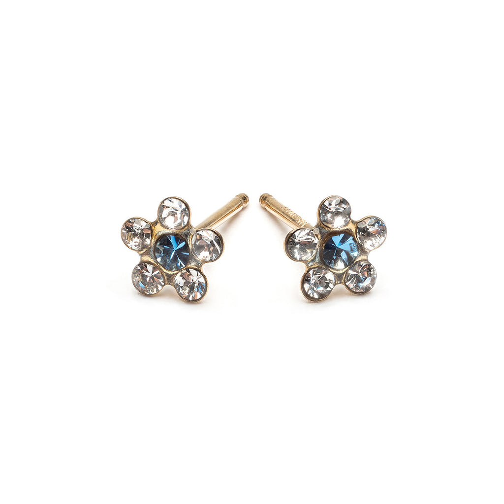 14 K Gold White And Blue Daisy Stud Earrings - Simply Whispers