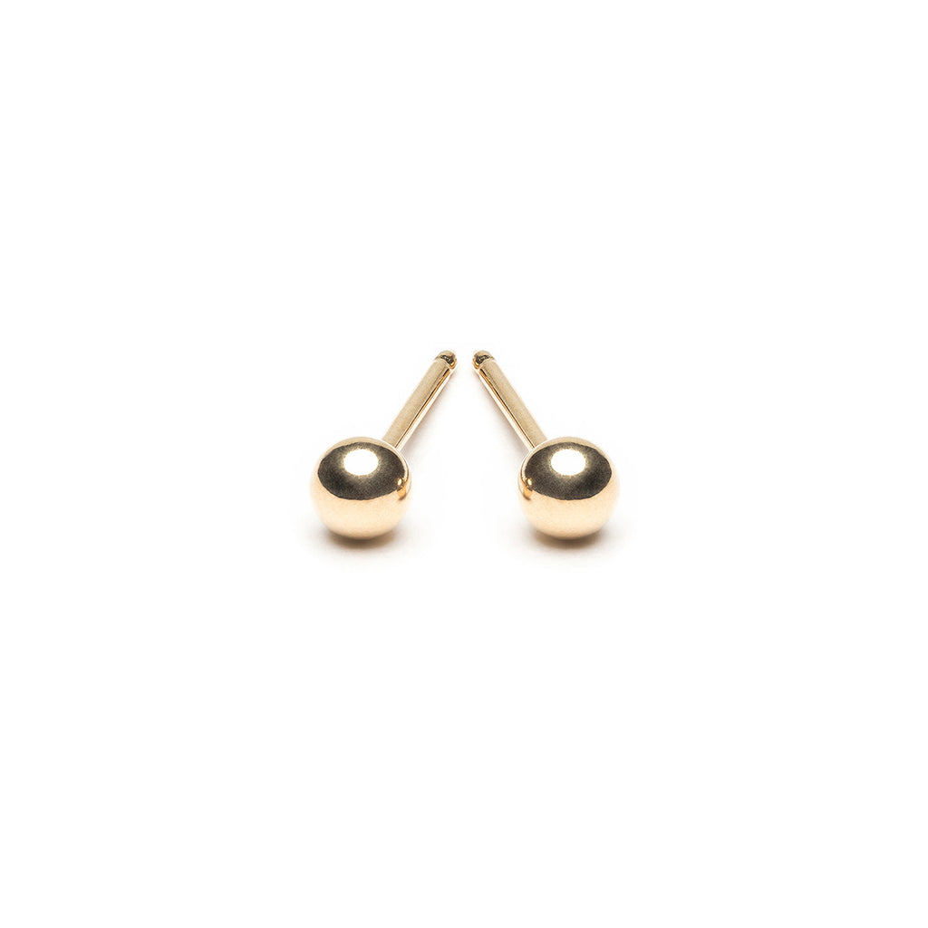 14 K Gold 3 mm Ball Stud Earrings - Simply Whispers