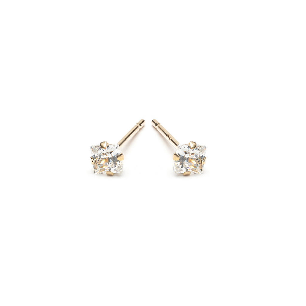 Gold Stud Earrings 3 mm Square Cubic Zirconia - Simply Whispers