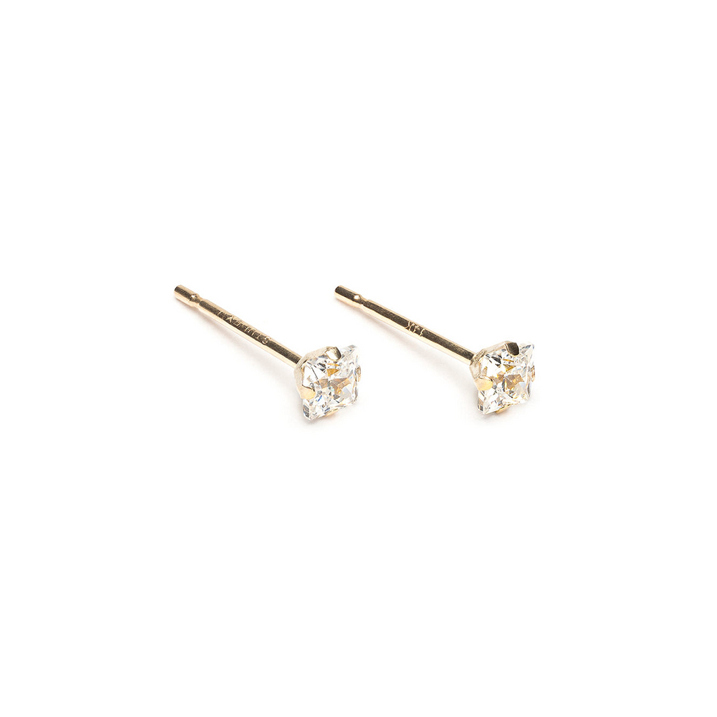 14k Gold 3 mm Square Cubic Zirconia Stud Earrings - Simply Whispers